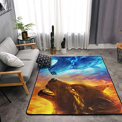 YOUNG H0ME Memory Foam Kitchen Rug for Living Room Kid Rooms Dorm Room, Non-Slip Backing Doormat Floor Mat Super Soft Throw Rugs Carpet, Anti Fatigue, Ice and Fire Flame Wolf Blue Yellow
