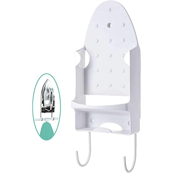 White ZITTEE Iron Holder Wall Mount Heat Resistant Iron Rest for Max 5.2 inch Width Iron Ironing Board Hooks for Hanging T-Leg Iron Board