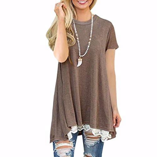 iLH® Clearance Deals O-Neck T-Shirt,ZYooh Women Short Sleeve A-Line Lace Stitching Loose Blouse Tops (Coffee, L) (Women For Leggings Lightning)