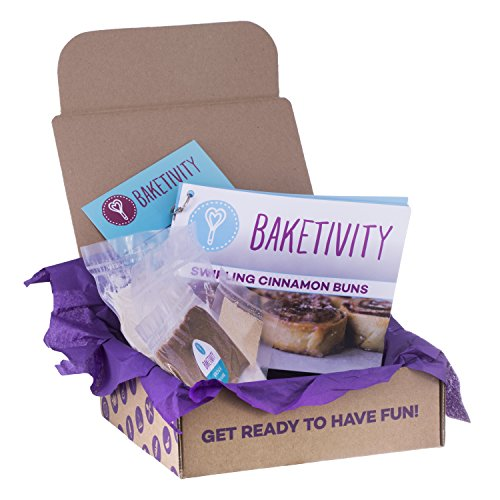 Baketivity Kids Baking Set, Meal Cooking Party Supply Kit for Teens, Real Fun Little Junior Chef Essential Kitchen Lessons, Includes Pre-Measured Ingredients, Cinnamon Buns