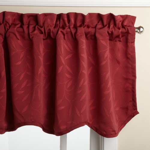 Lorraine Home Fashions Whitfield 52-inch by 18-inch Scalloped Valance, Wine
