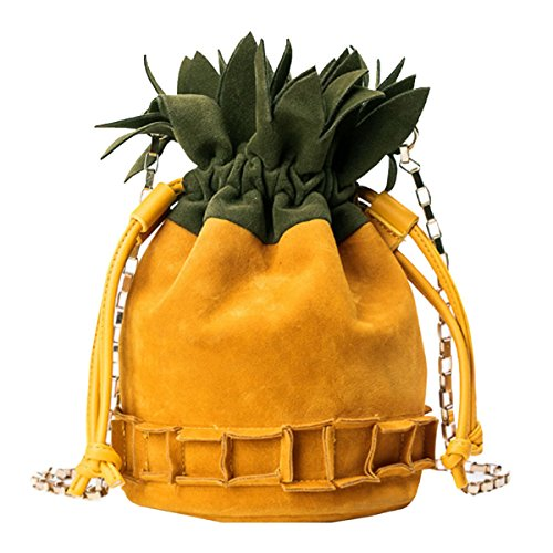 (Buddy Women Pineapple Shoulder Bag Fashion Mini Drawstring Crossbody Bag Chain Purse)