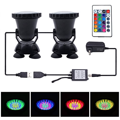 Submersible LED Aquarium Spotlight, Motent 36 Leds 2.7 inches Dia Waterproof 24 Keys Remote Control RGB Color Light Underwater Landscape lamp for Fountain Garden Pool Pond Rockery Yard - Set of 2 by MOTENT