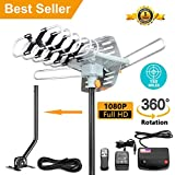 [Upgraded 2018] Amplified HD Digital TV Antenna - Outdoor HDTV Antenna 150 Mile Range Motorized Adjustable Antenna Mount Pole 2 TVs Support UHF/VHF/1080P Remote Control -33' Coax Cable