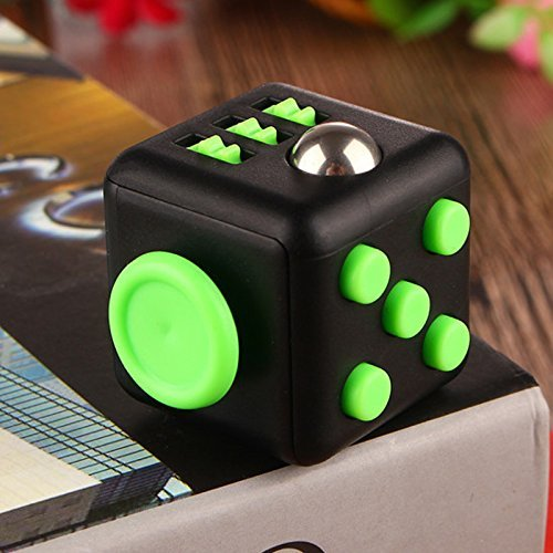 Lodabodkin Fidget Cube Relieves Stress and Anxiety for Children and Adults, Anxiety Attention Toy (Black-green)