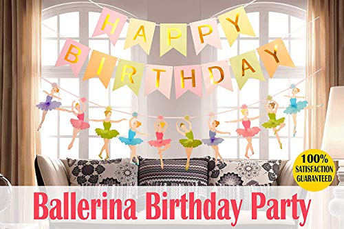 MEANT2TOBE Ballet Dancer Party Supplies Baby Girl Favor - Happy Birthday Banner-Ballet Girls Dancer Banner Garland for Birthday Party Favors Decor (Ballerina Birthday Party Decoration) ()