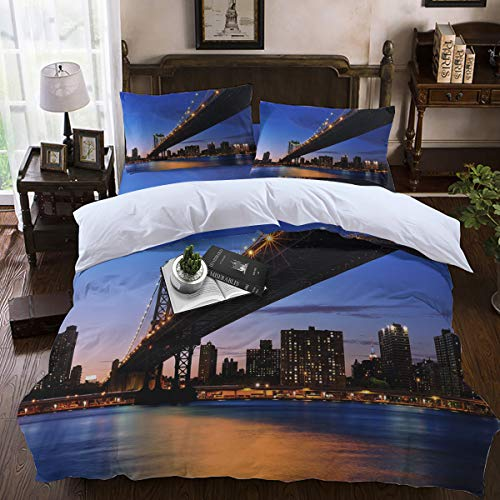 Duvet Cover Sets,Lightweight Soft and Breathable 4-Piece Bedding Comforter Covers with Zipper Closure, Corner Ties for Men, Women, Boys and Girls - Brooklyn Bridge City Night View King Size]()