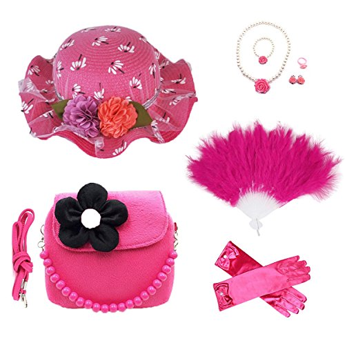 GILAND Girls Tea Party Set Dress Up Play with Sunhat,Handbag,Fans,jewelry (rose red)
