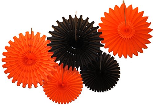 (Tissue Paper Fan Collection - 5 Large Assorted Fan, 18 and 13 inches (Halloween - Black and)