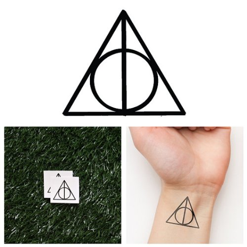 Tattify Deathly Hallows Temporary Tattoo - Deathly Hallows (Set of 2) - Other Styles Available - Premium and Fashionable Temporary Tattoos - Tattoos that are Long Lasting and Waterproof