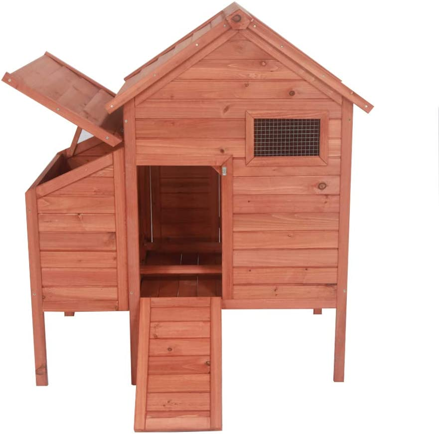 ALEKO DXH002 Raised Fir Wood Chicken Coop Rabbit Hutch with Nesting Box Backyard Poultry Cage 44 x 30 x 48 Inches