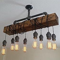 Jiuzhuo Industrial Rustic Wood Beam Linear Island Pendant Light 8-Light Chandelier Lighting Hanging Ceiling Fixture