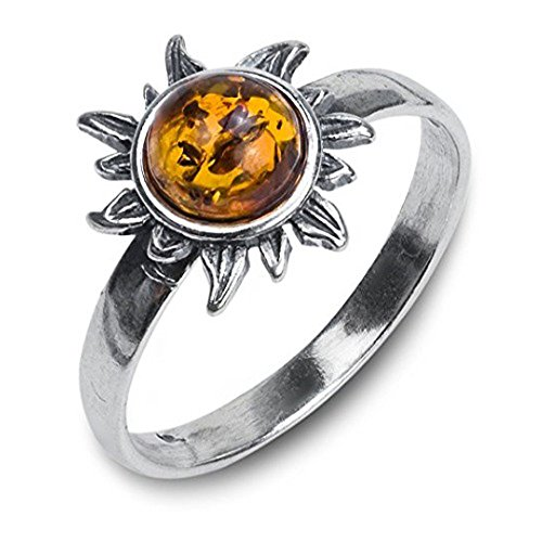 Ian and Valeri Co. Amber Sterling Silver Sun Small Ring
