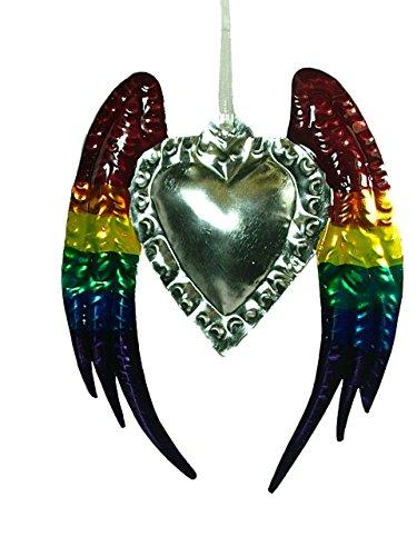 New Rainbow Metal Tin Heart Crown LGBT Wings GLBT Christmas Tree Ornament E