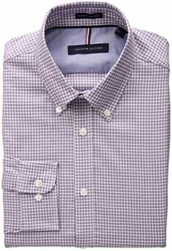 Tommy Hilfiger Men's Non Iron Slim Fit Check Buttondown Collar Dress Shirt
