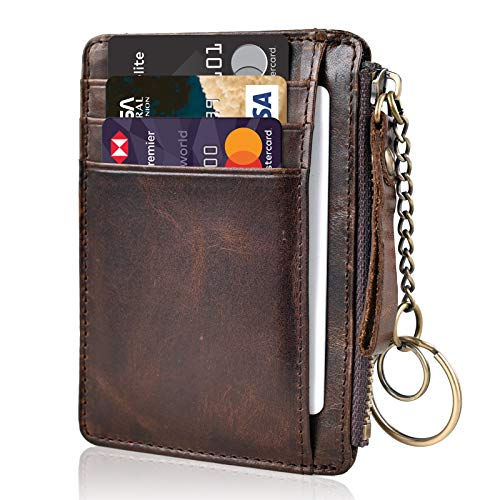 (Slim Mens Wallet Minimalist RFID Blocking, Front Pocket Waxed Genuine Leather Card Holder,Thin with Key Ring Zipper Wallet)