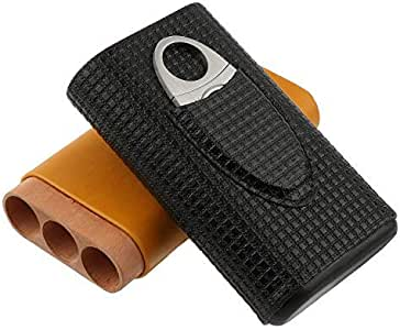 Estuche de cigarros con capacidad para 3 cigarros y cuchillo de cigarro de acero inoxidable. Estuche de cigarro de viaje en dos colores con relieve en madera de cedro. (Ⅰ)