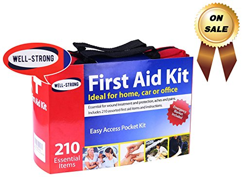 Well Strong First Aid Kit 210 Pieces With Durable And Compact Canvas Bag For Home  Car  School  Office  Sports  Travel  Survival  Adventure  Marine  Outdoor Hiking And Camping
