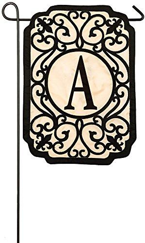 Evergreen Flag Filigree Monogram A Applique Garden Flag, 12.5 x 18 inches