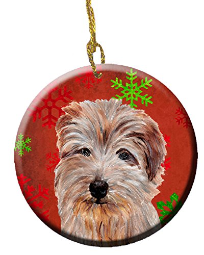 (Caroline's Treasures SC9760CO1 Norfolk Terrier Red Snowflakes Holiday Ceramic Ornament, 3 in, Multicolor)