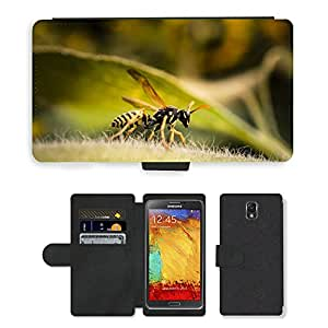 PU LEATHER case coque housse smartphone Flip bag Cover protection // M00112282 Avispa del insecto Macro Verdadera // Samsung Galaxy Note 3 III N9000 N9002 N9005