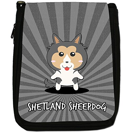 Shetland Bag Dogs Canvas Cartoon Size Medium Sheltie Scottish Shoulder Sheepdog Black n6YB8wSRq