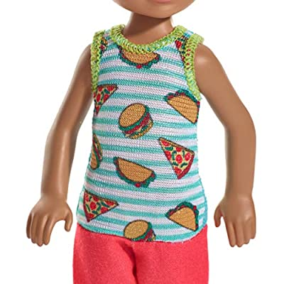 Barbie Club Chelsea Doll, 6-Inch Brunette Boy Doll Wearing Food-Themed Romper, for 3 to 7 Year Olds: Toys & Games