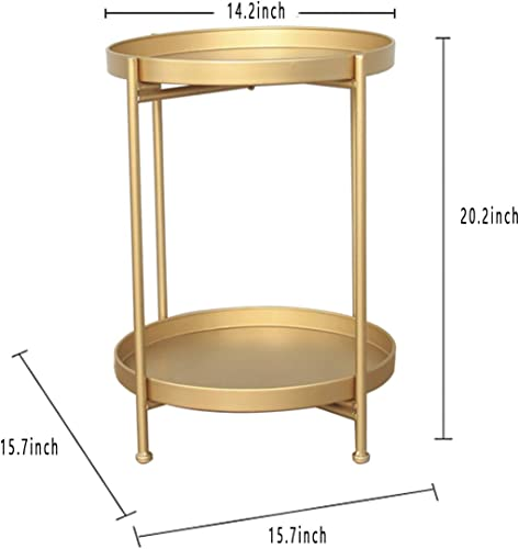 Metal Gold End Table 2-Tier Round End Table Gold Folding Coffee Accent Table