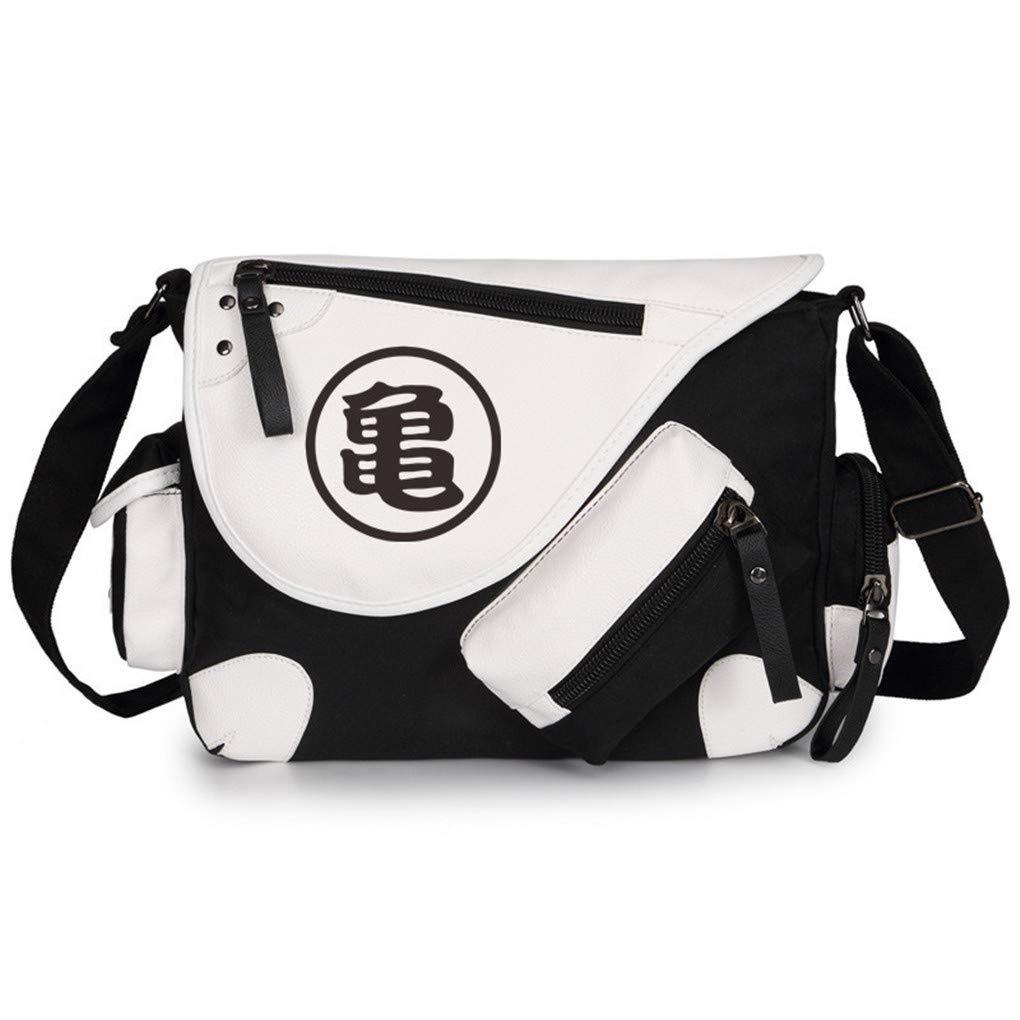 Memoryee Unisex Anime Drazon Ball Messenger Bag PU Leather Canvas Multi-pocket Casual Square Crossbody Shoulder Bag