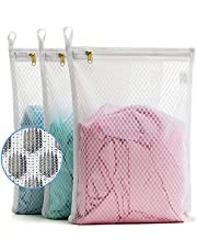 TENRAI 3 Pack (3 S) Delicates Laundry Bags, Socks Fine Mesh Wash Bag for Underwear, Lingerie, Bra, Boxer, Use YKK Zipper, Have Hanger Loops Small Openings (S Grade, QS)