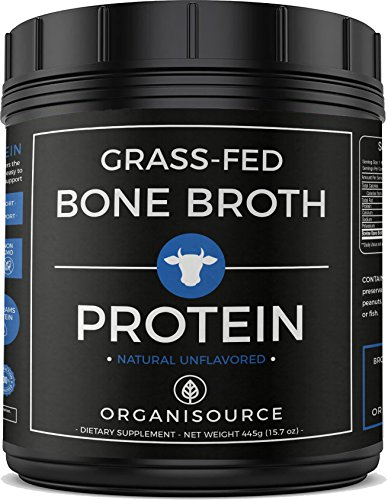 Bone Broth Protein Powder with Collagen Peptides by Organisource (15.7 ounces) Unflavored, Pure | Grass-Fed Beef | Keto and Paleo Friendly | Non-GMO, Soy-Free and Gluten-Free