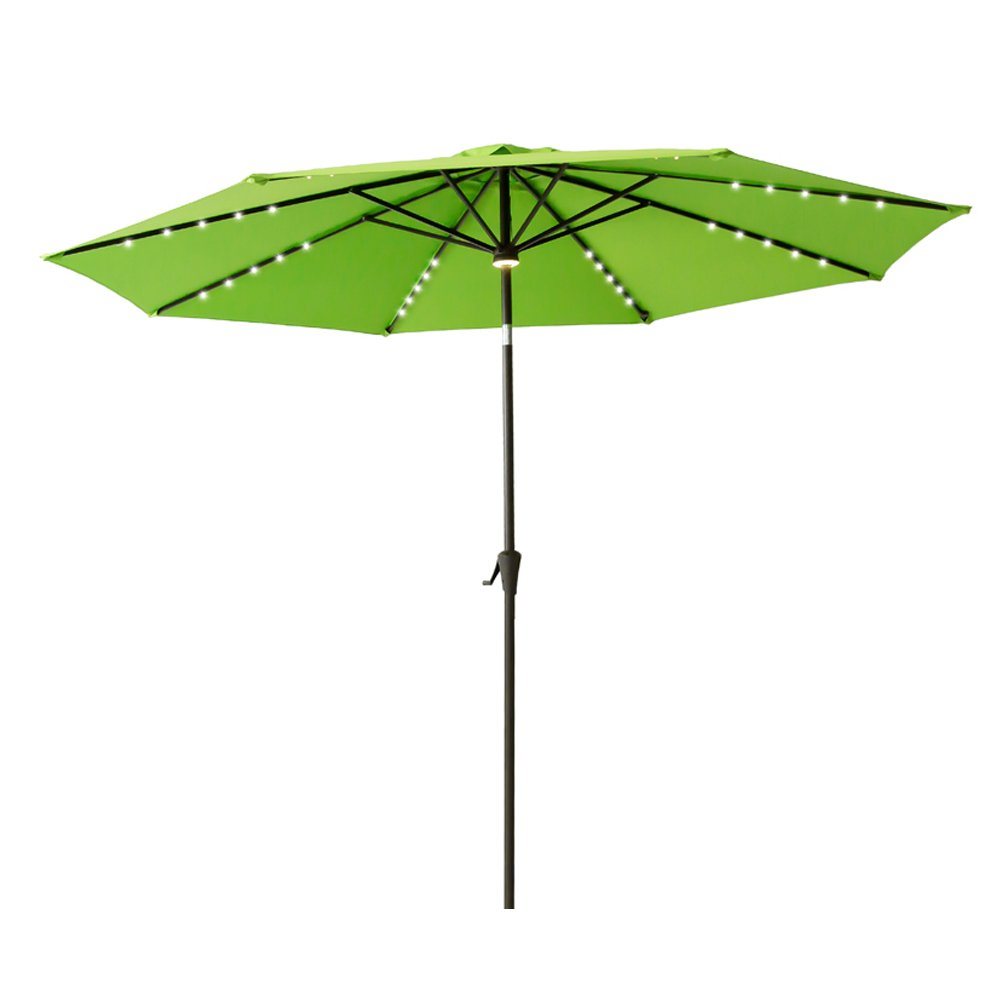 FLAME SHADE 10 Lighted Outdoor Patio Market Umbrella with Solar LED Lights and Tilting for Outside Table or Large Deck, Apple Green