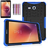 Windrew Heavy Duty Hybrid Protective Case with Kickstand Impact Resistant for Samsung Galaxy Tab E 8.0 Inch SM-T378/ SM-T375 / SM-T377 + Screen Protector Film and Stylus Pen  (Blue)
