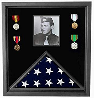 product image for flag connections Military Photo Flag and Medal Display Case