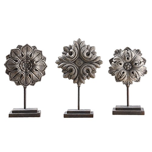 My Swanky Home Victorian Architectural Flower Sculpture Set Baroque Gray Acanthus Scroll Finial
