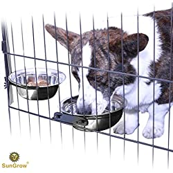 2 Stainless Steel Bowl for Pets by SunGrow: Easily attaches to cage; Perfect for Cats and Dogs; Simple removal; Reduce water and food spills; 30 oz/20 oz