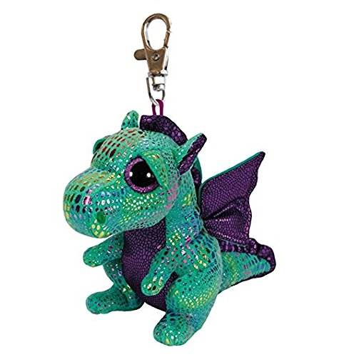 Ty Beanie Boos - CINDER the Green Dragon (Glitter Eyes) (Plastic Key Clip)