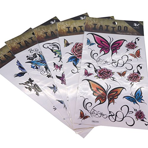 cool-body-art-temporary-tattoos-removable-sticker-pack-of-5-sheets-flower-and-butterfly