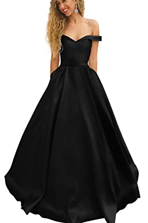 Harsuccting Off The Shoulder Long Ball Gown Satin Evening Prom Dress Black 2
