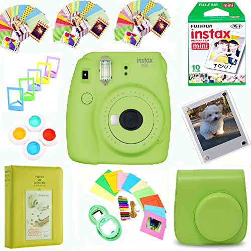 Fujifilm Instax Mini 9 Film Camera (Lime) + Film Pack(10 Shots) + Photix Pleather Case + Filter Kit + Selfie Lens + Album + Self-Standing, Hanging Frames&Stick-on Frames Exclusive Instax Design Bundle