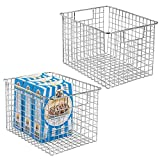 mDesign Kitchen Pantry Freezer Food Storage Organizing Metal Steel Wire Baskets Bins with Handles, 12'' x 9'' x 8'' - Set of 2, Chrome