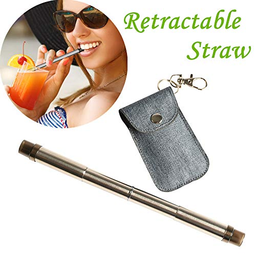 MSOO Reusable Stainless Steel Straws Drinking Straws Retractable Straws Drinking Tool (gray)