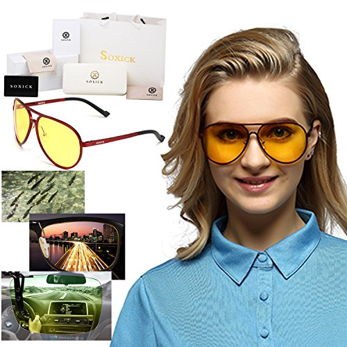 525f9c3d9a Soxick HD Oversized Metal Night Driving Polarized Aviator Pilot Full Rim  Sport Sunglasses for Men Women