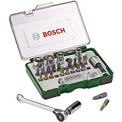 Bosch 2607017160 - Pack de 27 unidades para atornillar, con llave de carraca, color negro y verde