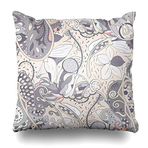 Ahawoso Throw Pillow Cover Medieval Arabic Tracery Mehndi Ethnic Antique Indigo Batik Boho Branch Brushstroke Design Nice Home Decor Pillowcase Square Size 18 x 18 Inches Zippered Cushion Case