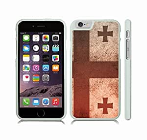 iStar Cases? iPhone 6 Case with Georgia Flag Vintage Grunge Offset Look Design , Snap-on Cover, Hard Carrying Case (White)