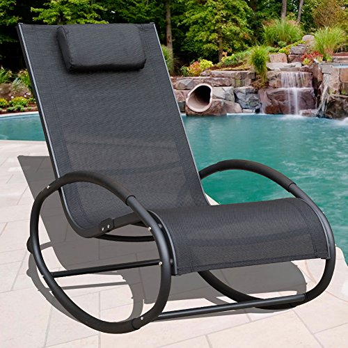 Sundale Outdoor Patio Aluminum Zero Gravity Chair Orbital Rocking Lounge Chair with Pillow Wave Rocker, Capacity 250 Pounds,Black