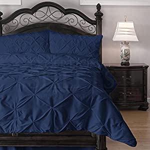 Hypoallergenic Comforter Set with Pillow Shams - 3 Piece - Decorative Pinch Pleat Pintuck - Wrinkle Resistant Microfiber with Lightweight Goose Down Alternative Fill - Queen, Navy Blue