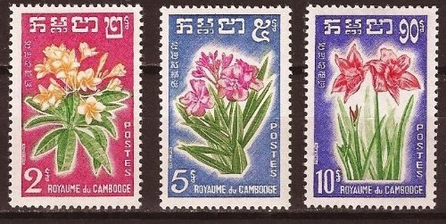 Cambodia Stamps - 1961, Sc 91-3 Flowers, MNH, F-VF