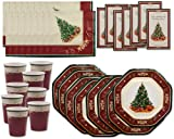 Beautiful Christmas Tree Party Pack (40 Pc); Christmas Tree Dinner Plates, 9 Oz. Cups, Lunch Napkins & Invitations; Serves 8